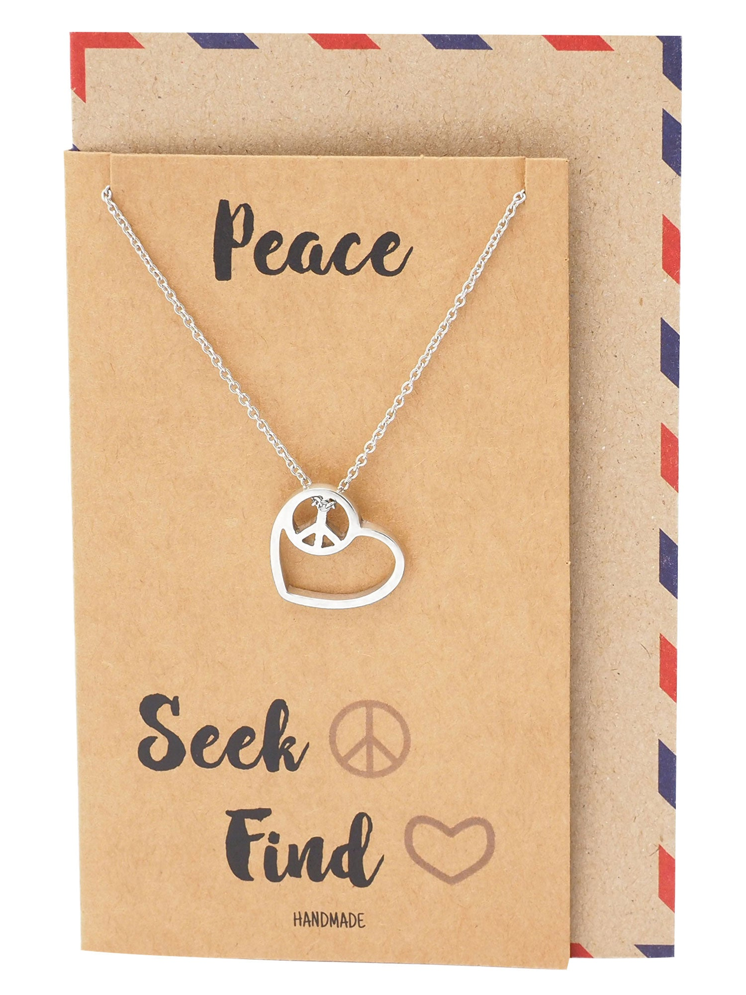 Jellien Love Heart Peace Sign Pendant Necklace Perfect Gift Jewelry - Quan Jewelry