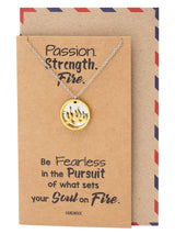 Atara Fire Pendant with Fearless on Plate Charm Necklace Inspirational Quote Greeting Card - Quan Jewelry