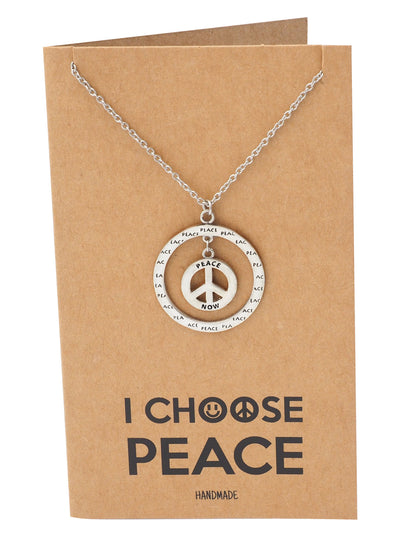 Bryll Peace in Circle Pendant Necklace