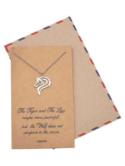Adria Wolf Necklace, Inspirational Wolf Jewelry