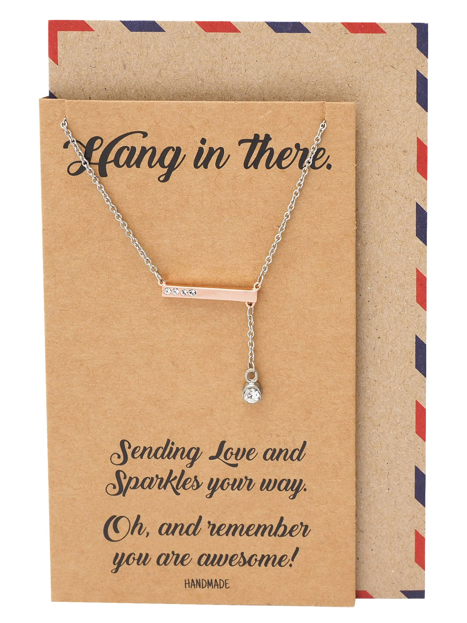 Alona Crystal Hangs in Bar Pendant Necklace Inspirational Jewelry Greeting Card - Quan Jewelry