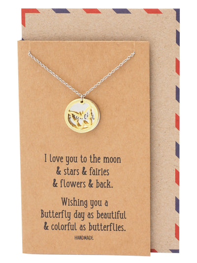 Irish Butterfly with Beautiful on Plate Pendant Necklace, Inspirational Jewelry and Greeting Card - Quan Jewelry