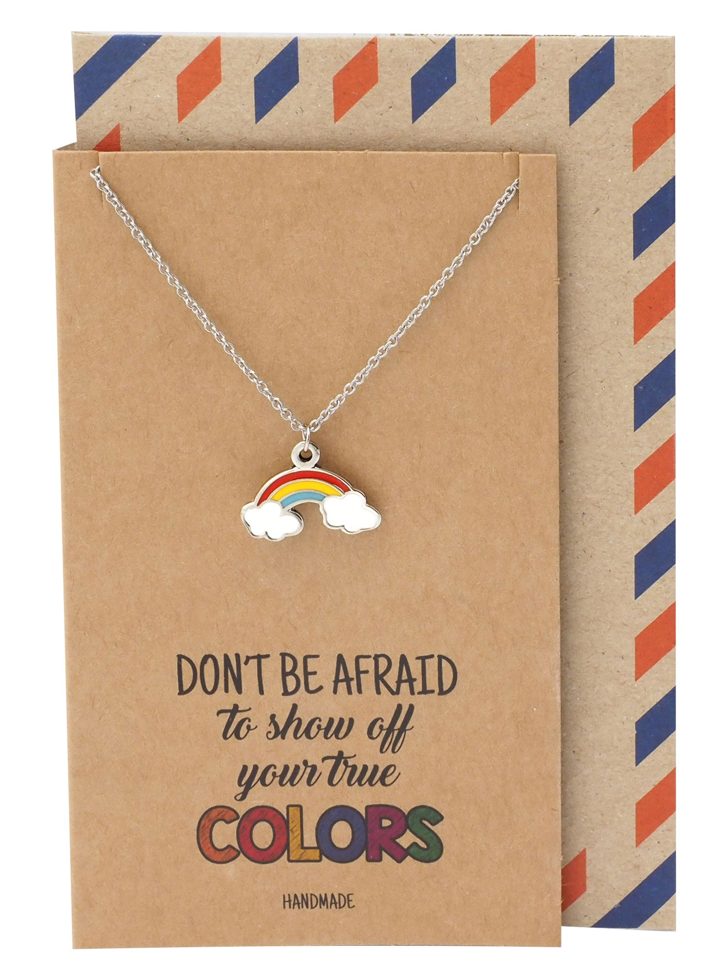 Carmela Rainbow Necklace, Christmas Gifts for Friends with Inspirational Quote on Greeting Card - Quan Jewelry