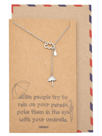 Mariz Cloud Rain and Umbrella Charms Necklace Inspirational Jewelry Gift