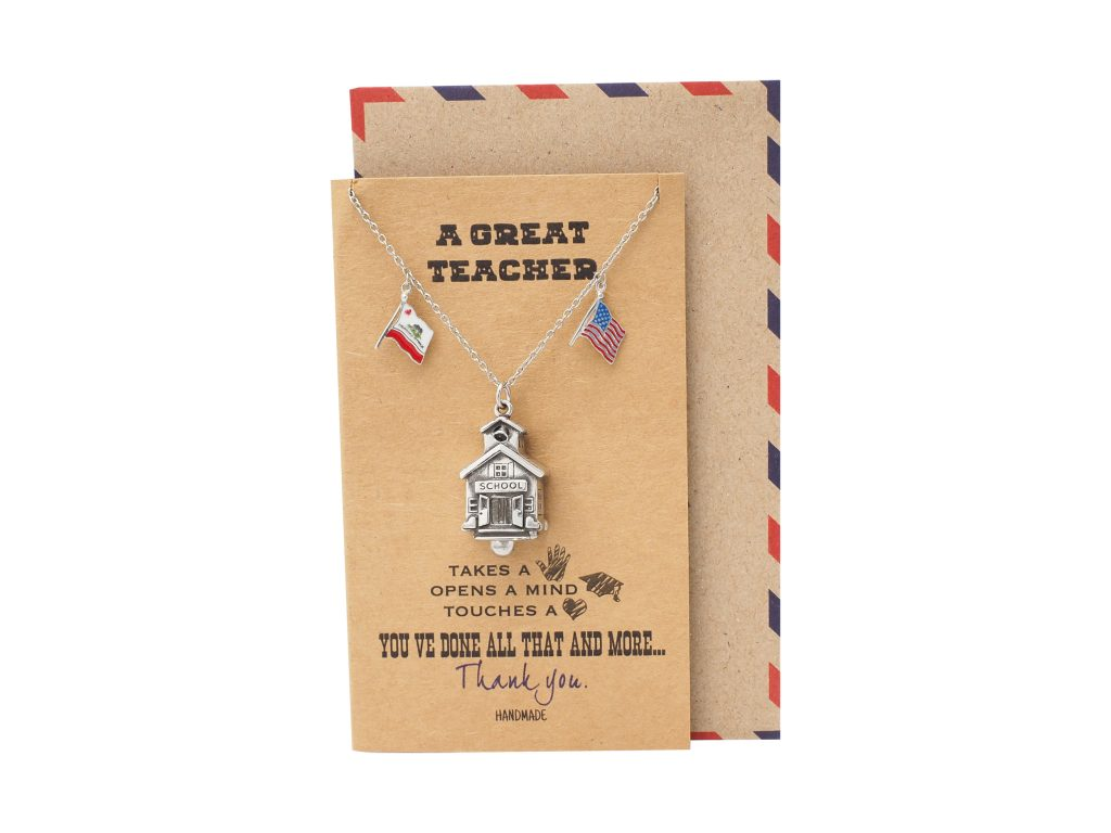 Olive Isbell School House Bell California Necklace, School Pendant with California and US Flag Charm Teacher Gifts, with Greeting Card