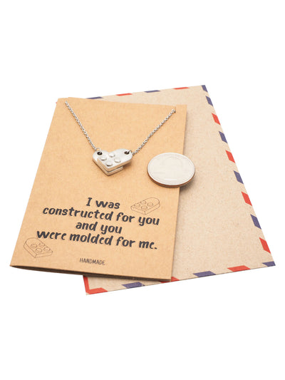 Immanuelle Lego Pendant Necklace Relationship Goals Gifts for Women with Greeting Card