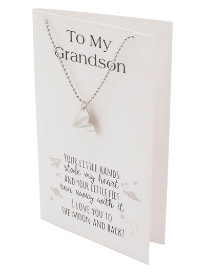 Holly Paper Airplane Jewelry Ball Chain Necklace, Grandson Gifts and Greeting Card - Quan Jewelry