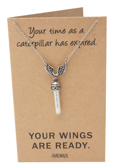 Toni Graduation Gifts for Her, Wing and Glass Vial Necklace