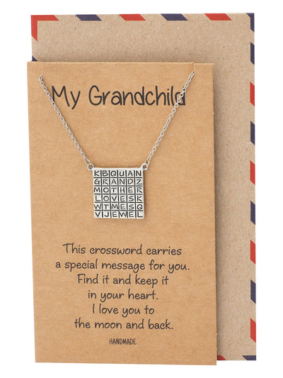 Alessia Grandmother Crossword Pendant Necklace