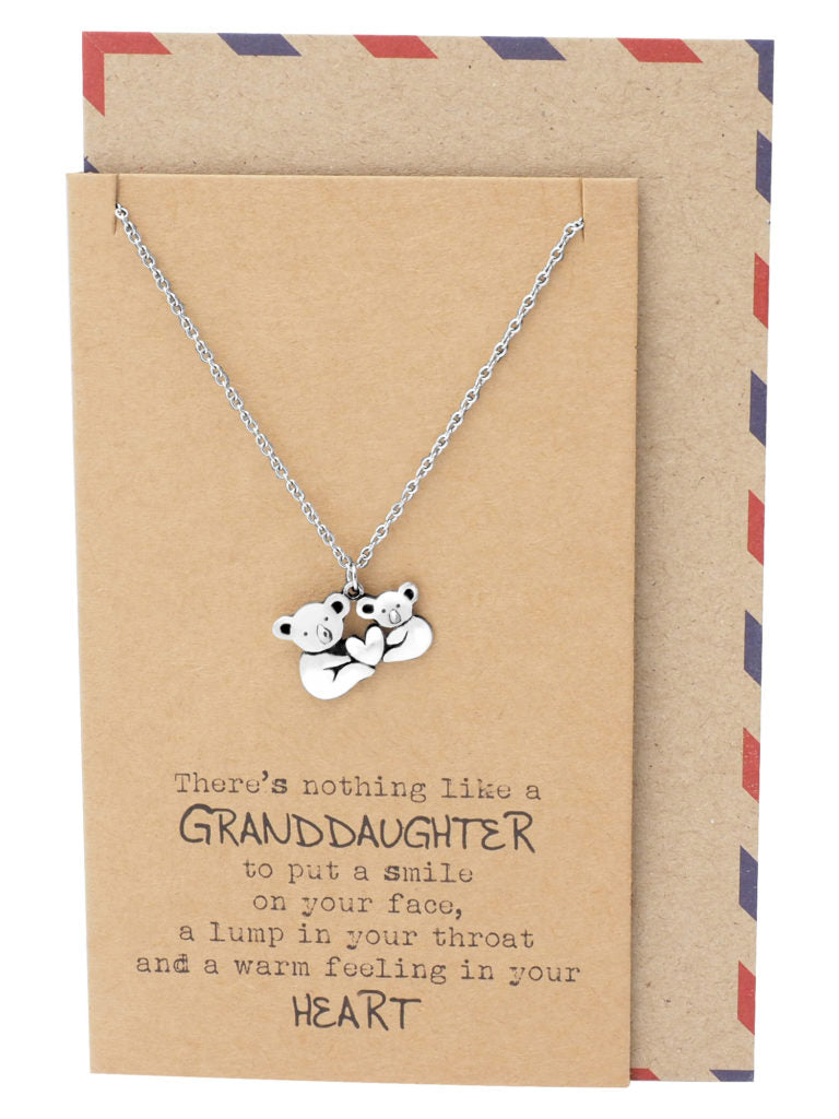 Enie Happy Birthday Granddaughter Quotes Koala Mama Bear Necklace - Quan Jewelry