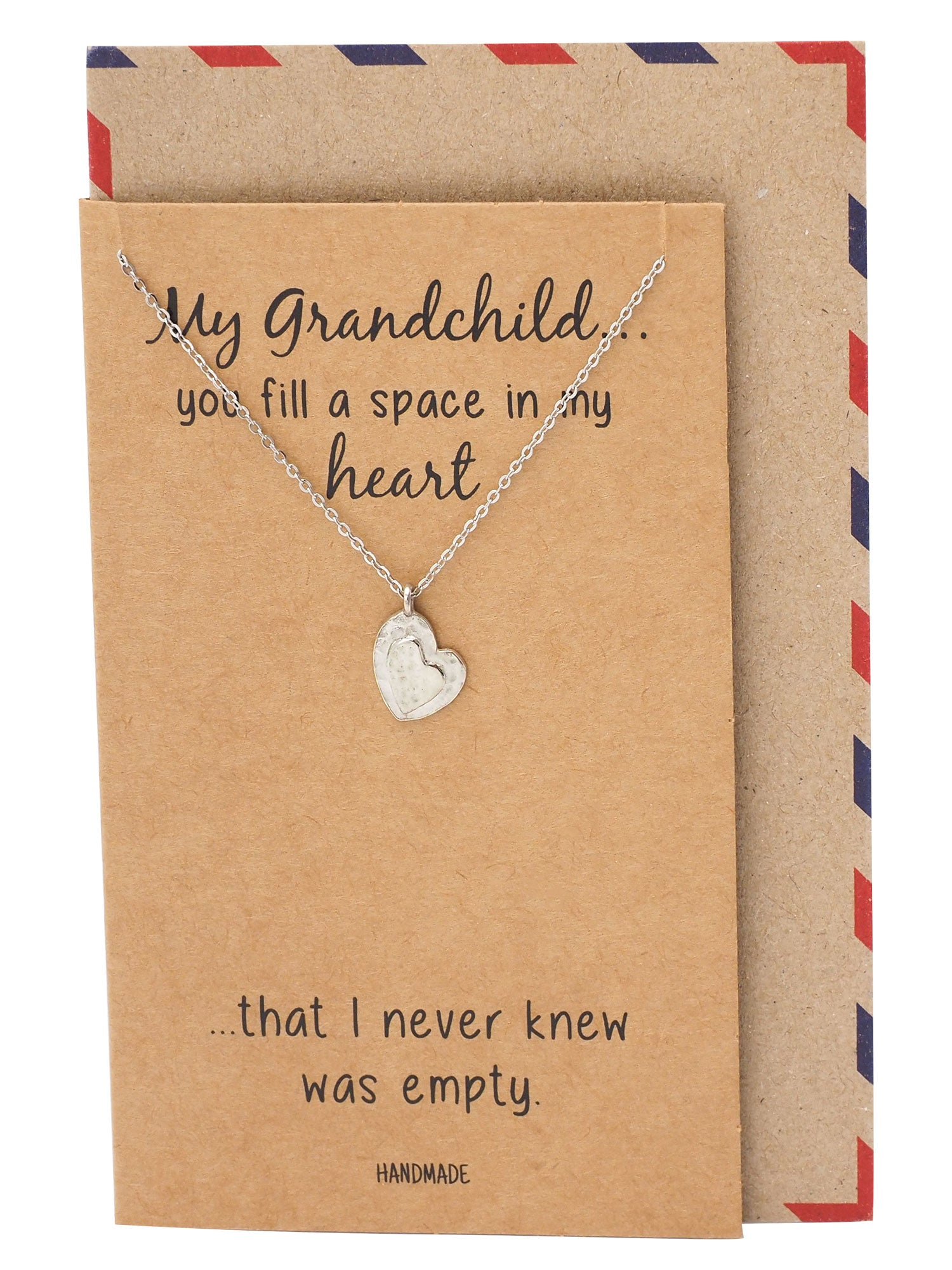 Tricia Heart Necklace, Granddaughter Jewelry Gifts with Heart Pendant