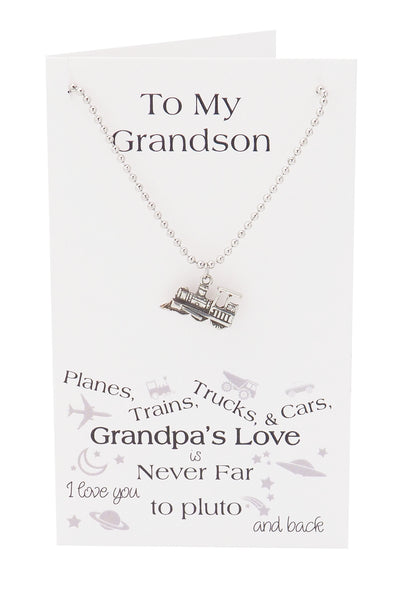 Zac Happy Birthday Cards Train Necklace Gifts for Grandson