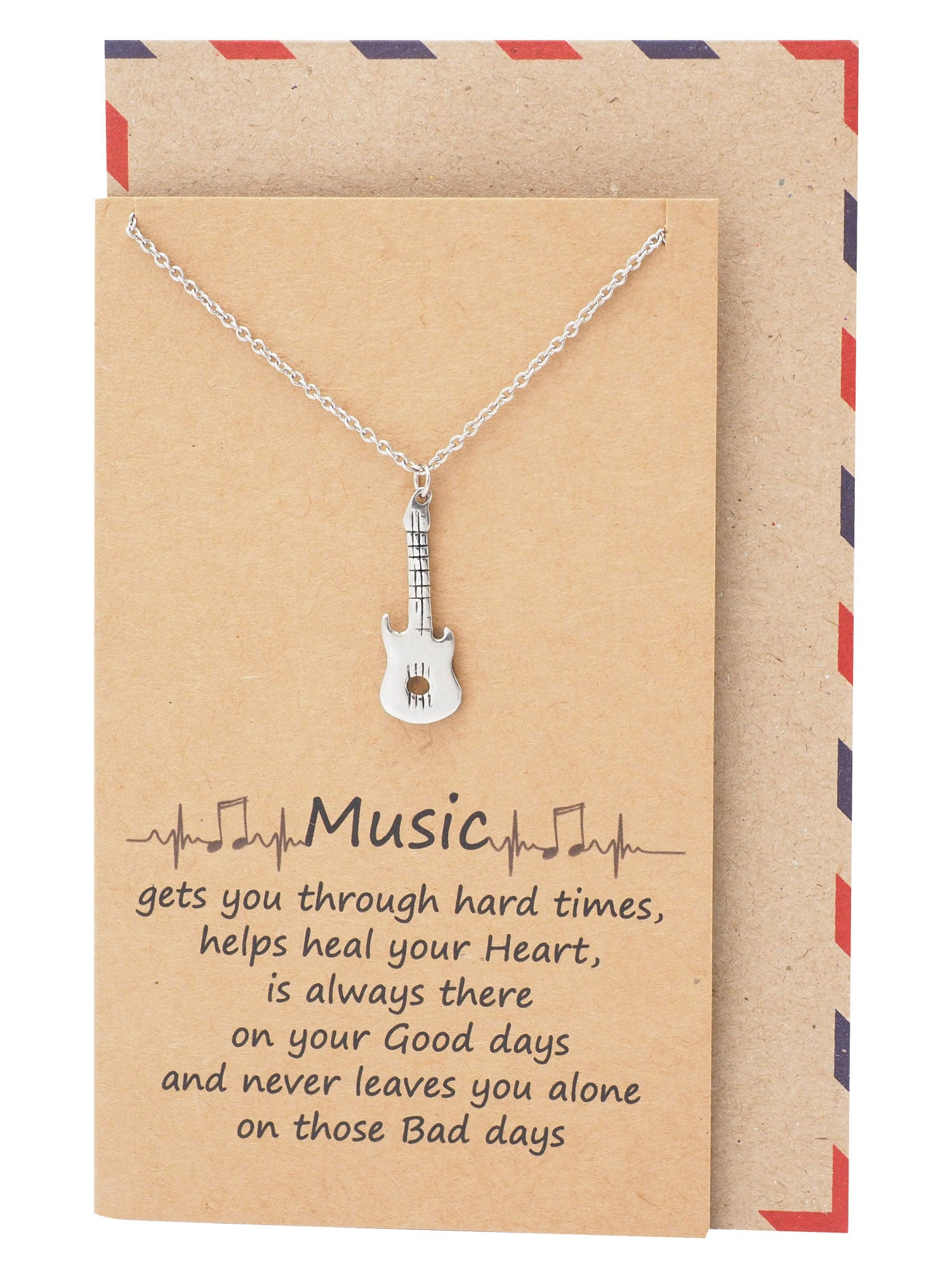 Carly Music Electric Guitar Necklace, Personalized Gifts for Music Lovers - Quan Jewelry