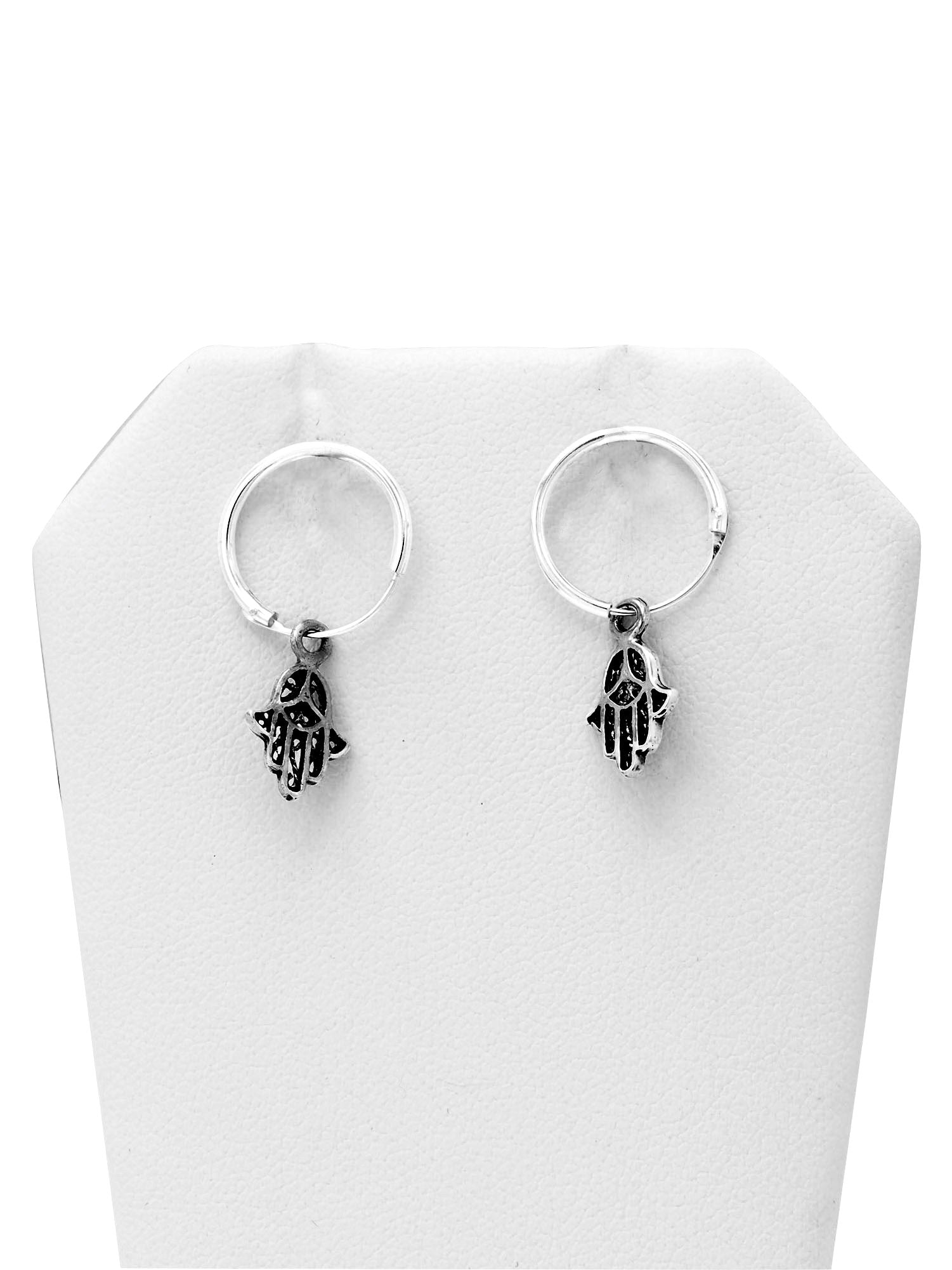 Casey Hamsa Hand, Hand of Fatima Hoop Earrings, 925 Sterling Silver - Quan Jewelry