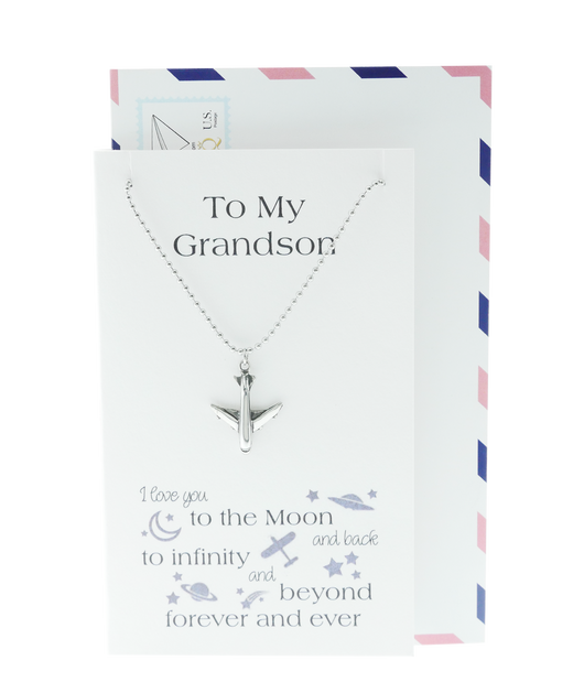 Ace Airplane Necklace Love You to the Moon and Back Gifts for Grandson, Happy Birthday Cards - Quan Jewelry