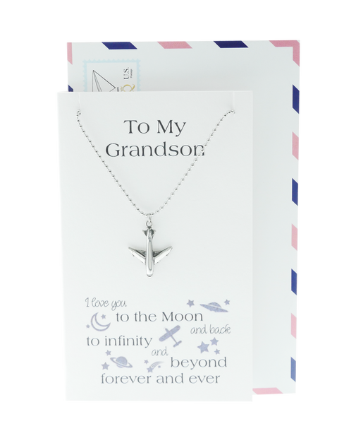 Ace Airplane Necklace Love You to the Moon and Back Gifts for Grandson, Happy Birthday Cards, Airplane Pendant, Silver Tone, Greeting Card with Jewelry - Quan Jewelry - 1