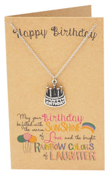 Athena A Very Happy Birthday Necklace, Cake Jewelry and Greeting Card
