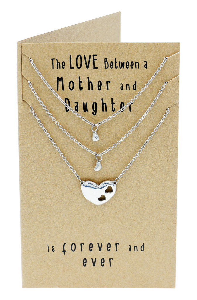 Ivy Gifts for Mom Mother Daughter Heart Necklace, Mother Daughter Jewelry Set (3-pc necklace),  - Quan Jewelry - 4