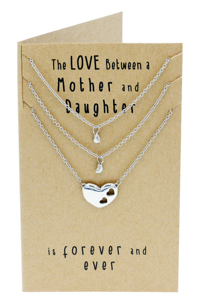 Ivy Gifts for Mom Mother Daughter Heart Necklace, Mother Daughter Jewelry Set (3-pc necklace) - Quan Jewelry