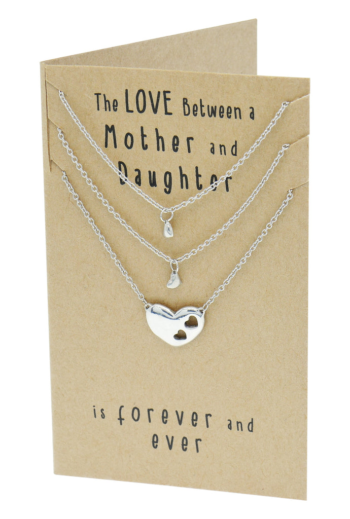 Ivy Gifts for Mom Mother Daughter Heart Necklace, Mother Daughter Jewelry Set (3-pc necklace),  - Quan Jewelry - 5