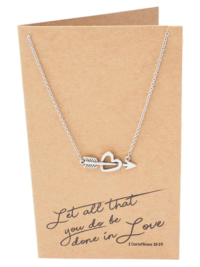 Amy Heart and Arrow Necklace for Women, Valentine's Day Gifts, comes with Inspirational Bible Verse - Quan Jewelry