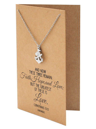 Sabel Faith Hope and Love Necklace with Heart Anchor Cross Pendant