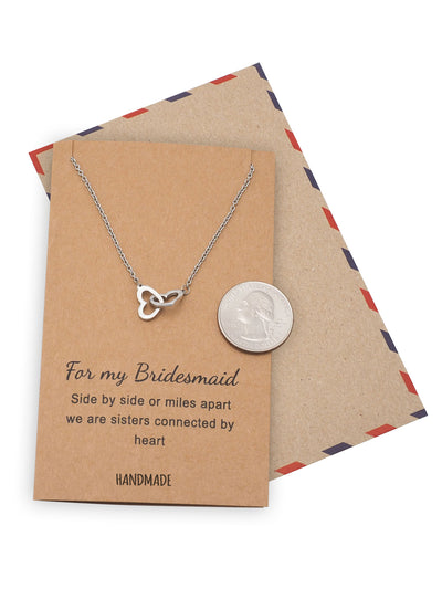 Lilia Bridesmaid Gifts Interlocking Hearts Necklace