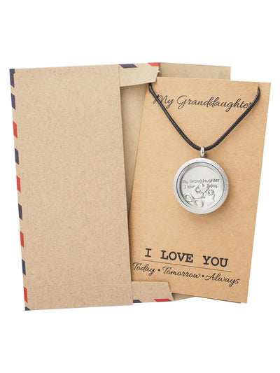 Mereen Gifts for Her Locket Necklace, Granddaughter Jewelry with Greeting Card