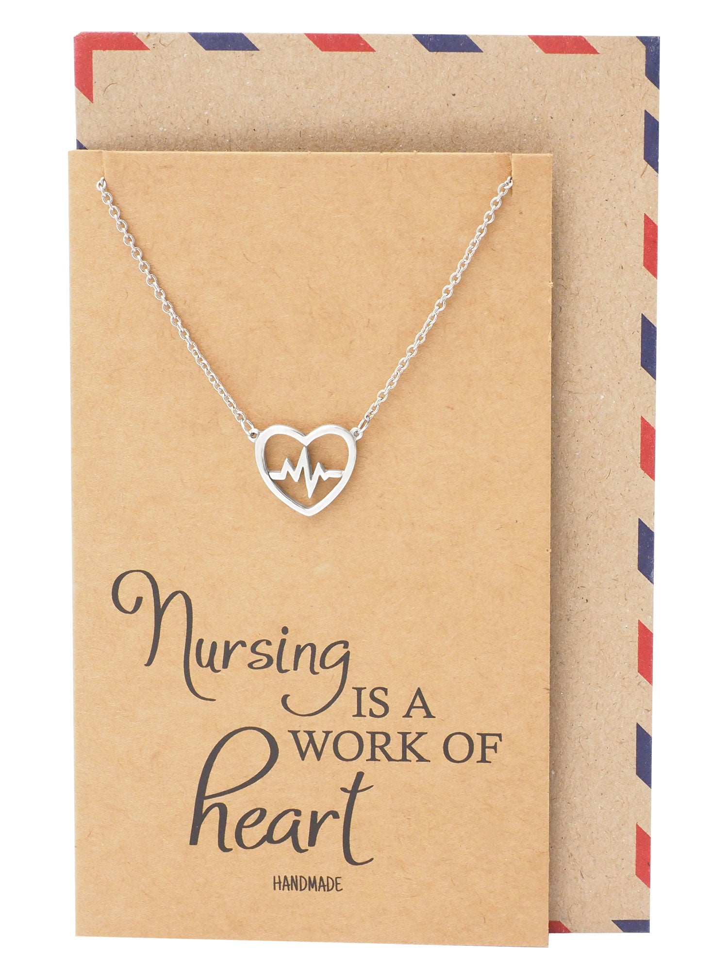 Kyla EKG in Heart Pendant Necklace Best Girt for Nurses
