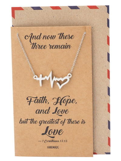 Kaye EKG and Heart Pendant Necklace