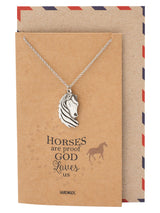 Therese Faith Reminder Horse Necklace for Women, Animal Pendant, Inspirational Quote, Silver Tone