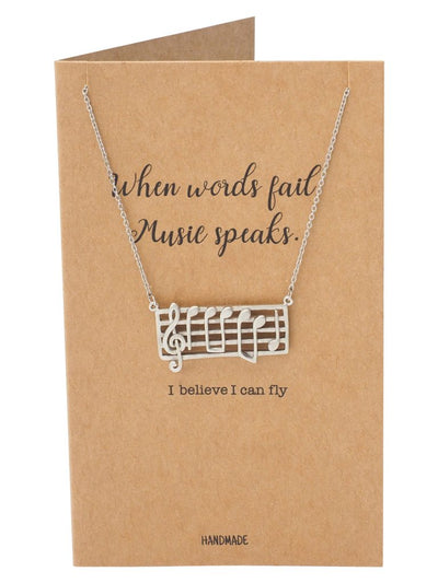 Music Notes Pendant with Greeting Card