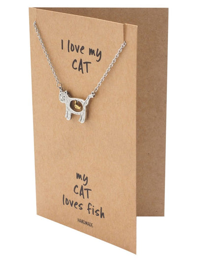 Nevaeh Cat Loves Fish Pendant Necklace Quotes Greeting Card, Gifts for Cat Lovers