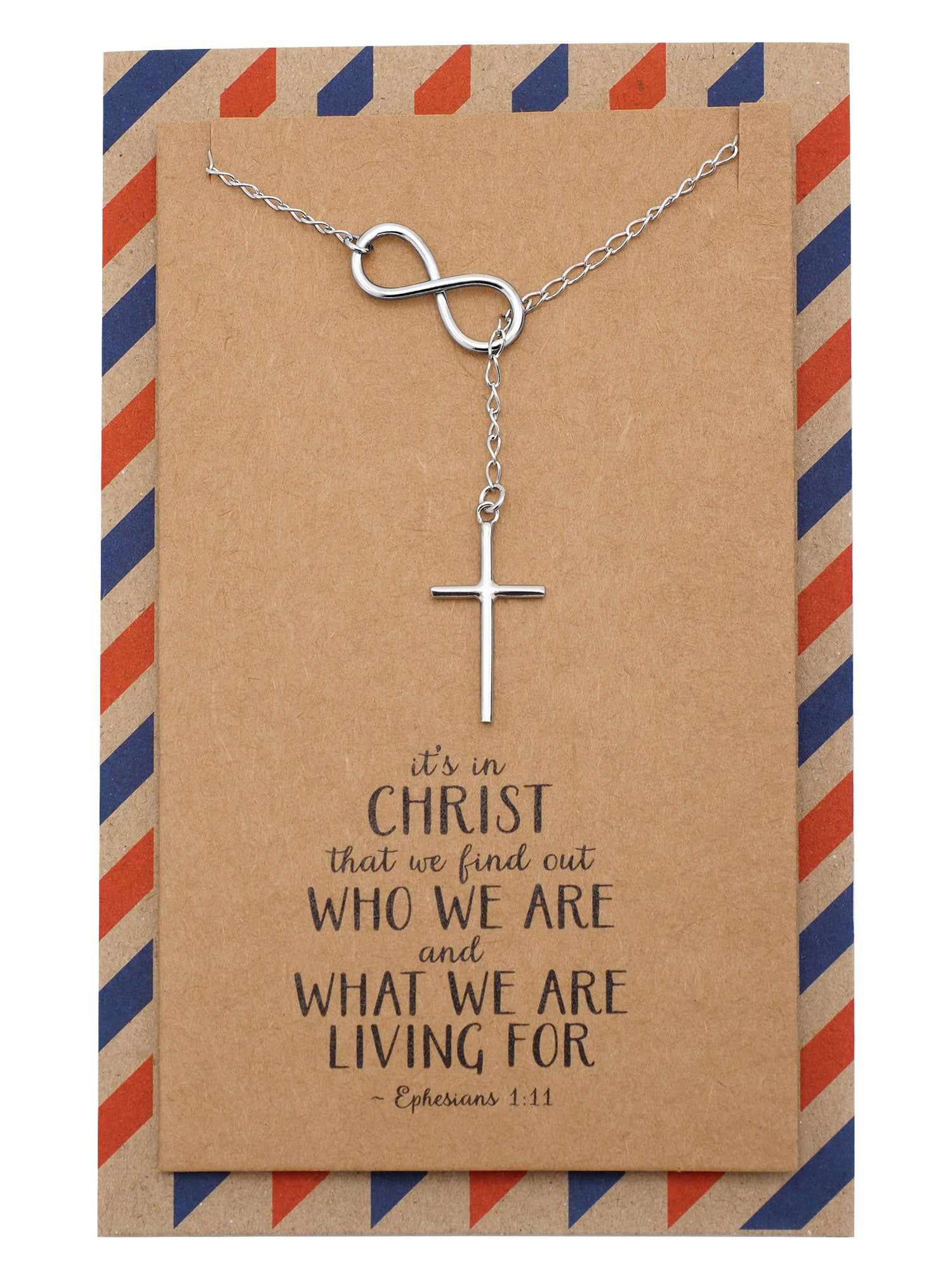 Marci Cross Necklace Bible Quotes Inspired Infinity Necklace for Women