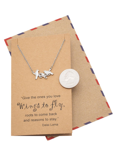 Galina Little Birds on Branch Pendant Necklace for Women, Gifts for Family, Inspirational Quote - Quan Jewelry