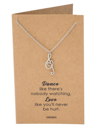 Nova Music G-clef Note with Heart Pendant Necklace, Best Jewelry Gift for Music Lovers