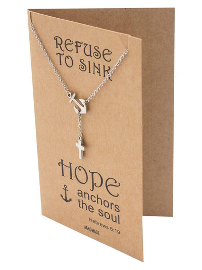 Jermaine Cross Lariat Anchor Necklace