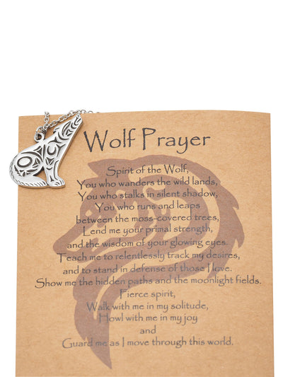 Chlodette Loving Wolf Necklace with Inspirational Quote and Prayer - Quan Jewelry
