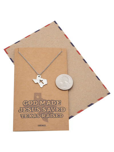 Ella Texas Map Cross Necklace for Women with Greeting Card