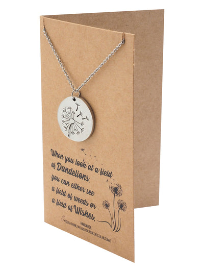 Zelda Dandelion Plate Pendant Necklace, Inspirational Jewelry for Women