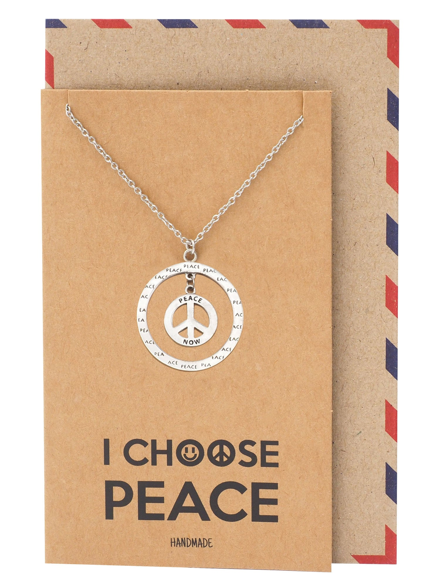 Bryll Peace in Circle Pendant Necklace Inspirational Jewelry - Quan Jewelry