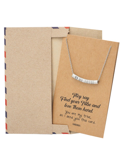 Liezyl Heart My Tribe on Tube Pendant Necklace Inspiration Greeting Card
