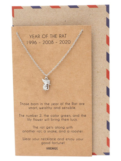 Abril Year of the Rat Pendant Necklace