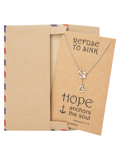 Hope Heart Lariat Anchor Necklace, Christian Jewelry, Sympathy Gifts - Quan Jewelry