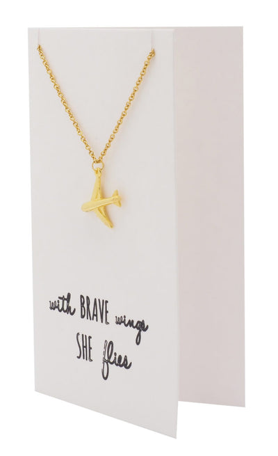 Janice She's Brave Necklace with Airplane Pendant