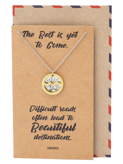 Giselle Mountain and Sunrise on Plate Pendant Necklace, Inspirational Quote Greeting Card - Quan Jewelry