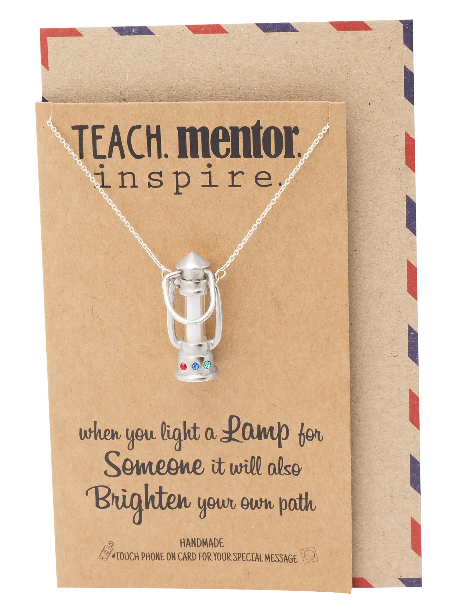 Leanne Lamp Pendant Necklace, Teach Mentor Inspire, Gifts For Women With Inspirational Quotes