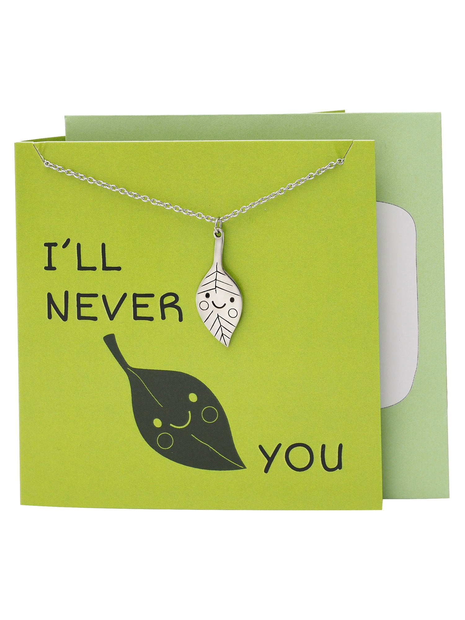 Leelo Leaf Necklace Funny Puns Greeting Cards I'll Never Leaf You