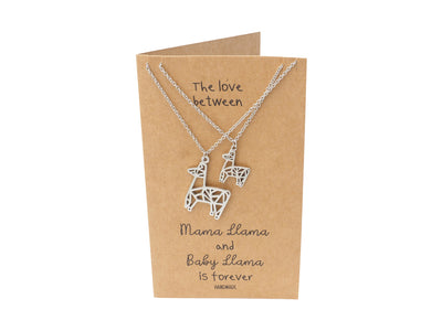 Eliana Mama and Baby Llama Pendants 2 sets of Necklace, Mother and Daughter Jewelry