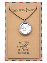 Brielle Teacher Locket Necklace with Teepee, Heart, Apple, and Arrow Charms With Greeting Card - Quan Jewelry